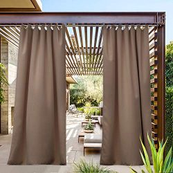 NICETOWN Porch Blinds Outdoor Waterproof Curtain, Tab Top Blackout Thermal Insulated Water Resis ...