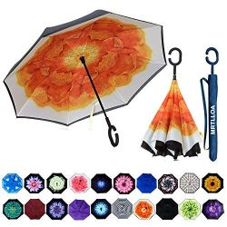 MRTLLOA Double Layer Inverted Umbrella with C-Shaped Handle, Anti-UV Waterproof Windproof Straig ...