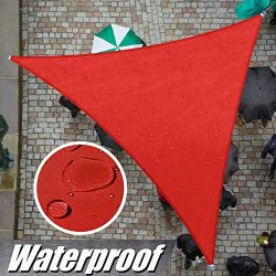 ColourTree 12′ x 12′ x 12′ Red Triangle Waterproof Sun Shade Sail Canopy Awnin ...