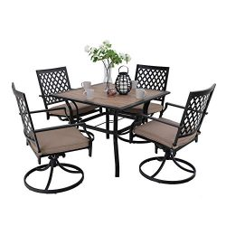 PHIVILLA Patio Dining Set 5 Pieces 1 Wood Like Square Garden Umbrella Table and 4 Swivel Chairs  ...