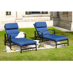Outdoor Patio Chaise Lounge Chair with Adjustable Backrest and and Arms Metal Lounger Furniture  ...
