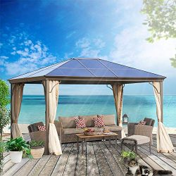 MorNon Outdoor Steel Frame Gazebo with Mesh Screen Netting Curtains Heavy Duty Waterproof for De ...