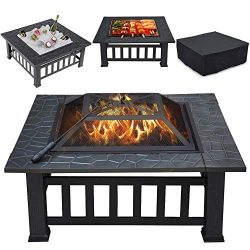 Topeakmart Outdoor Metal Fire Pit Table Multifunctional Backyard Patio Garden Square Stove, 32in ...