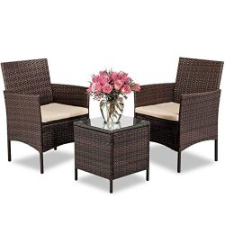 FDW 3 Pieces Patio Set Outdoor Wicker Patio Furniture Sets Wicker Bistro Set Rattan Chair Conver ...