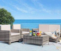 Homall 5 Pieces Outdoor Patio Furniture Sets Rattan Chair Wicker Conversation Sofa Set, Outdoor  ...