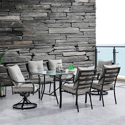 Hanover LAVDN7PCSW2-SLV Lavallette 7-Piece Silver Linings with 4 Chairs, 2 Swivel Rockers, and a ...