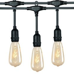 18Ft Outdoor Weatherproof String Lights with 12 Hanging Sockets & 7Watt ST40 Clear Bulbs, UL ...