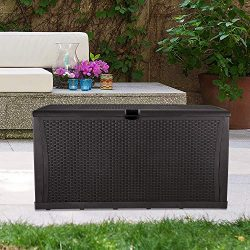 GDY 120 Gallon Patio Storage Deck Box Outdoor Storage Plastic Bench Box,Resin Wicker Storage Con ...