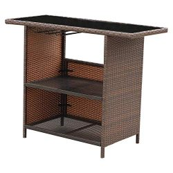 VALITA Patio PE Wicker Furniture Bar Counter Table with 2 Shelves Design
