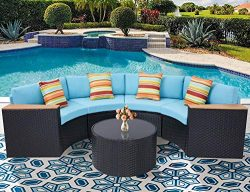Oakmont Outdoor Sectional Sofa 5-Piece Half-Moon Patio Furniture Set All-Weather Garden Sofa Rou ...