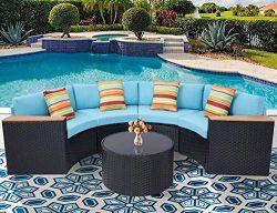 Oakmont Outdoor Sectional Sofa 5-Piece Half-Moon Patio Furniture Set All-Weather Garden Sofa Rou ...
