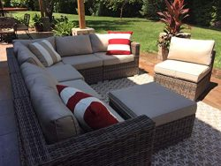 Wicker Patio Furniture Conversation Set No Assembly Outdoor Sectional Sofa Aluminum L Shape Couc ...