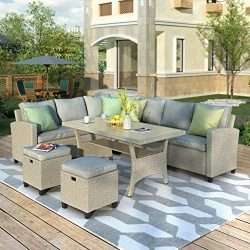 Merax Patio Dining Sets, 5 Piece Outdoor Conversation Set All Weather Brown Wicker Rattan Sectio ...