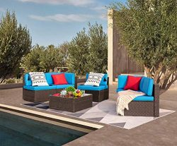 Devoko Patio Furniture Sets 6 Pieces Outdoor Sectional Rattan Sofa All-Weather Manual Weaving Wi ...