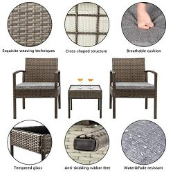 Patio Furniture Set 3 Piece Outdoor Indoor Wicker Rattan Conversation Set for Patio Garden Pools ...