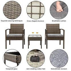 Patio Furniture Set 3 Piece Outdoor Indoor Wicker Rattan Conversation Set for Patio Garden Pools ...