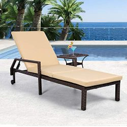 AECOJOY Adjustable Outdoor Chaise Lounge Chair Rattan Wicker Patio Lounge Chair, for Outdoor Pat ...