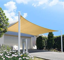 FLY HAWK Sun Shade Sail Rectangle 6′ x 8′, Patio Sunshade Cover Canopy – Durab ...