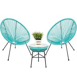 Best Choice Products 3-Piece Outdoor Acapulco All-Weather Woven Rope Patio Conversation Bistro S ...