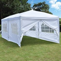NSdirect 10 x 20 ft Pop Up Outdoor Canopy Tent,Heavy Duty Easy Portable Wedding Party Tent Carry ...
