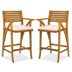 Best Choice Products Set of 2 Outdoor Acacia Wood Bar Stools Bar Chairs for Patio, Pool, Garden  ...