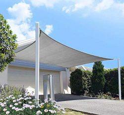 diig Patio Sun Shade Sail Canopy, 10′ x 12′ Rectangle Shade Cloth Block Sunshade Fab ...