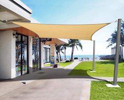 Henkelion Sun Shade Sail Rectangle [8′ x 12′] UV Block Durable Canopy Shade Sails fo ...