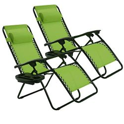 Goplus 2PC Zero Gravity Chairs Lounge Patio Folding Recliner Outdoor Yard Beach with Cup Holder  ...