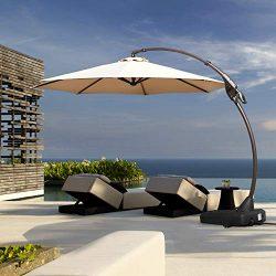 Grand patio Deluxe Napoli 11 FT Curvy Aluminum Offset Umbrella, Patio Cantilever Umbrella with B ...