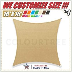 ColourTree 16′ x 16′ Sand Beige Sun Shade Sail Square Canopy Awning Fabric Cloth Scr ...