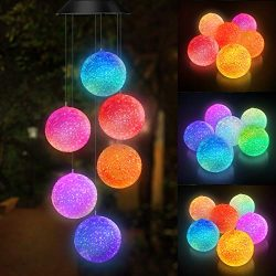 Topspeeder Color Changing Solar Power Wind Chime Spiral Spinner Crystal Ball Wind Mobile Portabl ...