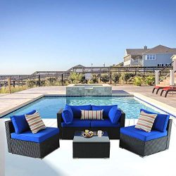 Outime Patio Furniture Rattan Sofa Black Wicker Couch Set Garden Outside Sectional Seating Home  ...