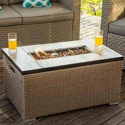 COSIEST Outdoor Propane Fire Pit 32-inch x 20-inch Rectangle Warm Gray Wicker Fire Table(40,000  ...