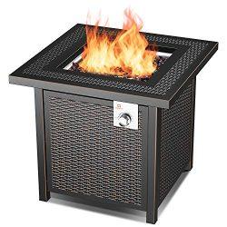 QOMOTOP Propane Gas Outdoor Fire Table, 28-inch, Heat Output 50,000 BTU Fire Pit, CSA Safety Cer ...