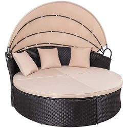 KaiMeng Patio Sets Outdoor Round Daybed PE Rattan Wicker Furniture with Retractable Canopy with  ...