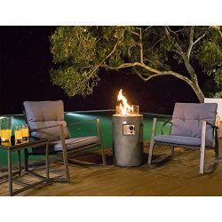 COSIEST 4-Piece Fire Pit Table Outdoor Rocking Chair Furniture Set, Patio Bistro Blue Cushions w ...