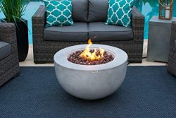 AKOYA Outdoor Essentials 30″ Fiber Concrete Outdoor Propane Gas Fire Pit Table Bowl in Gray