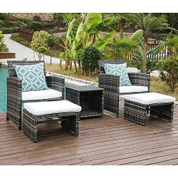 OC Orange-Casual 5 Piece Wicker Outdoor Furniture Set Rattan Bistro All Weather Conversation Set ...