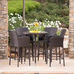 Christopher Knight Home Cassum Outdoor 5 Piece Multibrown Wicker 32.5 Inch Round Bar Table Set