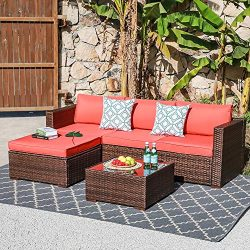OC Orange-Casual Outdoor Sofa Sectional Set Patio Furniture Sets All-Weather Brown PE Wicker wit ...