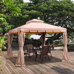 PURPLE LEAF 10′ × 13′ Outdoor Gazebo Garden Canopy Steel Frame Vented Soft Canopy, D ...