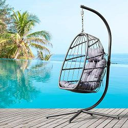 romatpretty Grey, Wicker Hanging Basket Outdoor, Front Porch Furniture with Stand, UV Resistant  ...