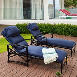Top Space Patio Chaise Lounge Outdoor Adjustable Back Chair Cushioned Chairs with Blue Pillow Al ...