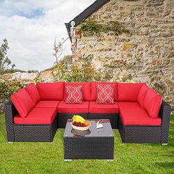 Furnimy 7 Pieces Patio Furniture Sets Outdoor Furniture Sectional Sofa Patio Conversation Set Ou ...