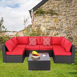 Furnimy 7 Pieces Patio Furniture Sets Outdoor Furniture Sectional Sofa Patio Conversation Set Ou ...