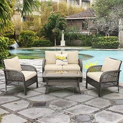 Wisteria Lane Outdoor Furniture Sets – 4 Piece Patio Conversation Set Wicker Sofa with Gla ...