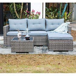 JOIVI Patio Conversation Set, PE Wicker Rattan Outdoor Furniture Set, 2 Ways Sectional Sofa Loun ...