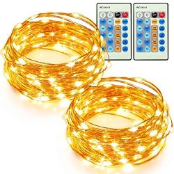 TaoTronics 33ft 100 LED String Lights Plug In 2 Pack Dimmable with Remote Control, Waterproof De ...