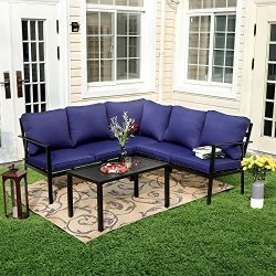 PHI VILLA Metal Outdoor Patio Furniture Padded 5 Seater L-Shaped Sectional Sofa Conversation Cha ...
