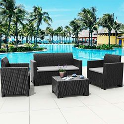 Tangkula 4-Piece Patio Furniture Set, Made in Italy Outdoor Wicker Conversation Set w/Removable  ...